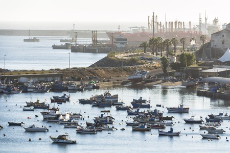 Boats laying in small harbour of Sines in Portugal