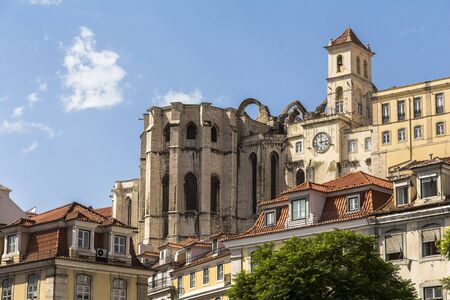 View from rossio square on Cathedral in Lisbon, Portugal Stock Photo