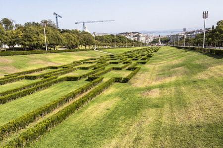View from top of parque Eduardo in Lisbon, Portugal Stock Photo