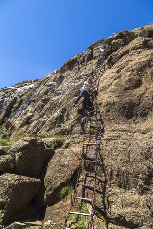 Dangerous chain ladders on the Sentinel Hike, Drakensberge, South Africa
