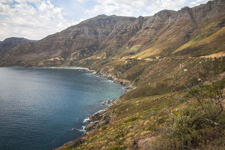 Prachtig landschapsmening op kust bij Chapmans Piekaandrijving, Cape Town Stockfoto