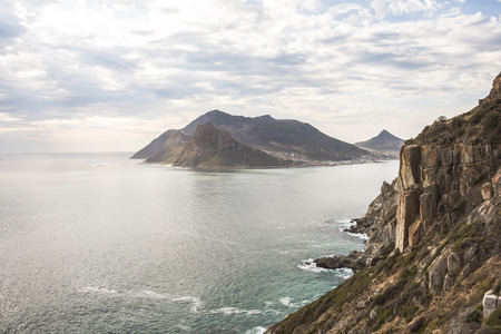 chapmans: Wonderful panorama view on Hout Bay from Chapmans Peak Drive Stock Photo