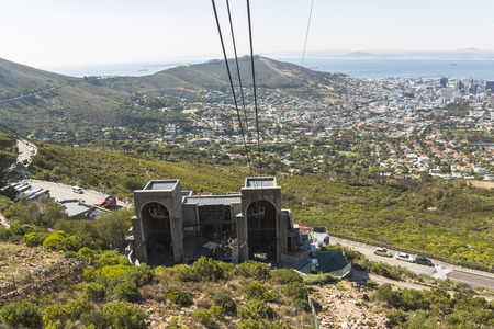 View from the cable car on Cape Town