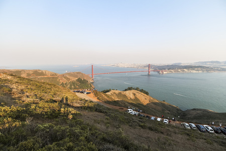 Golden Gate Bridge view at sunset time in San Francisco Stock Photo