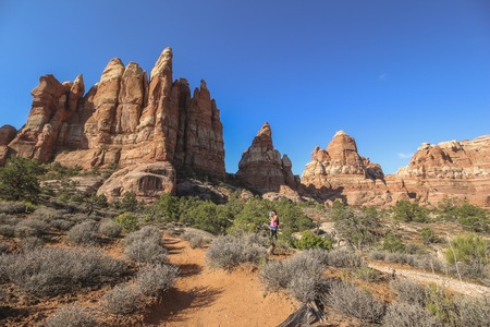 Red rocks on Chesler Park trail, needles district Stock Photo