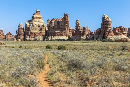 Beautiful landscape on the Chesler Park Trail, Needles District, Canyonlands Stock Photo