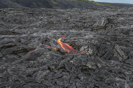 Hot lava flow from near, Hawaii Big island 版權商用圖片