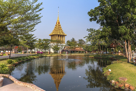 Beautiful lake in park of ancient city, Bangkok