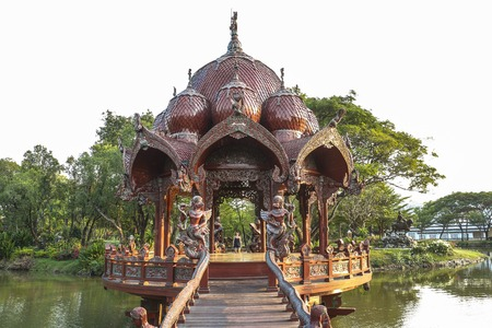 Traditional temple on water in ancient city near Bangkok, Thailand