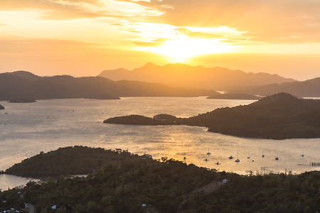 Sunset over the landscape of Coron bay, philippines