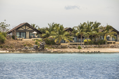 Vacation resort cottages near water on philippine island