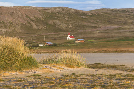 View on Breidavik from beach, westfjords of iceland