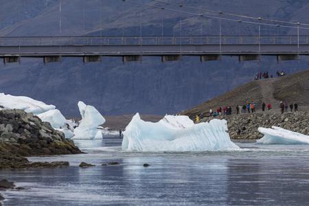 View on glacier lagoon from diamond beach, iceland