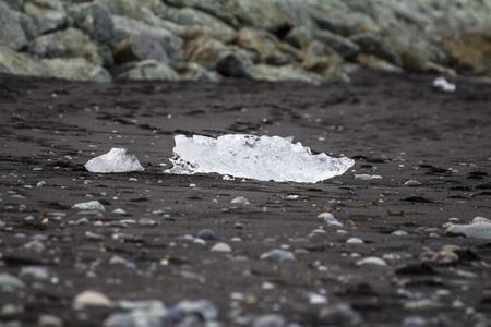 Crystal clear ice on black lava at diamond beach, iceland