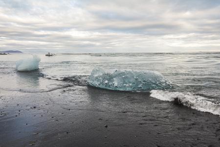 Icebergs on the shore of diamond beach, iceland Stock Photo
