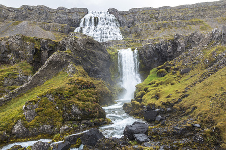 Dynjandi waterfall landscape, west fjords, Iceland Stock Photo