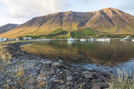 Small beautiful town Flateyri, west fjords, Iceland Reklamní fotografie