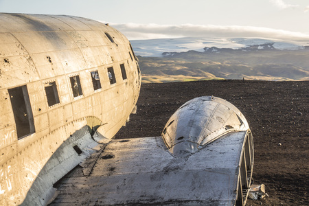 Famous plane wreck DC-3 after sunrise in Iceland