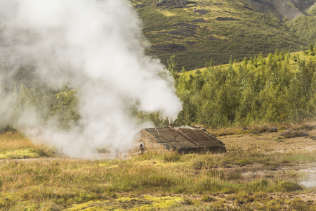 Hot geothermic steam on golden circle of Iceland