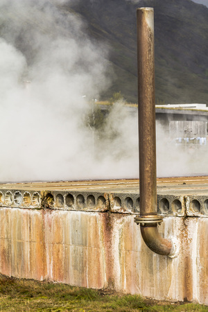 Hot geothermic steam in Iceland, industrial