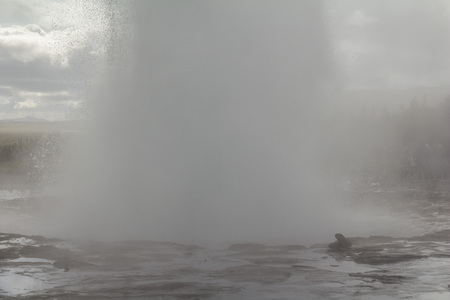 Geysir Strokkur eruption from close, Iceland
