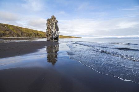 Hvitserkur stone arch on beach in Iceland
