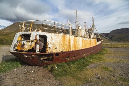 Impressive Ship wreck Gardar BA64 on west fjords, Iceland