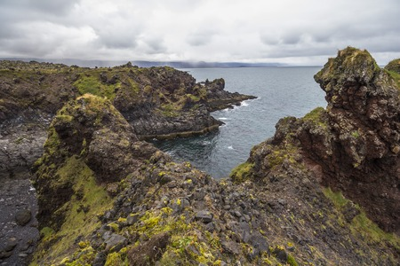 Rough coast on hike near Arnastapi, Snaefellsnes, Iceland