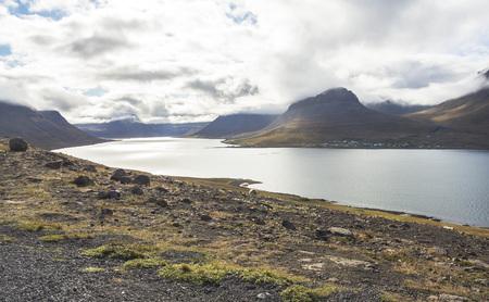 Wide panoramic view, fjord in west fjords region, Iceland Reklamní fotografie