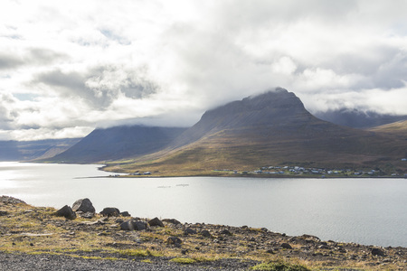Wide panoramic view, fjord in west fjords region, Iceland 版權商用圖片
