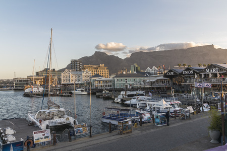 V A Waterfront harbour in Cape Town, late afternoon