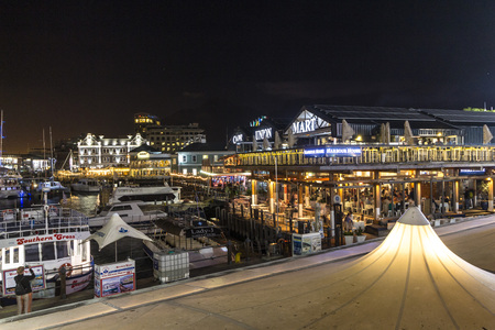 V A Waterfront harbour at night in Cape Town