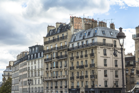 Typical Paris houses, beautiful architecture Stock Photo