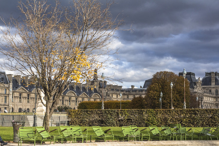 Dark clouds, thunderstorm, park in Paris center