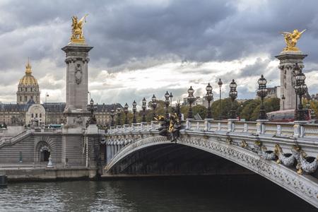 Bridge over Seine river in Paris Фото со стока