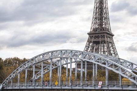 Bridge and Eiffel tower view in Paris center