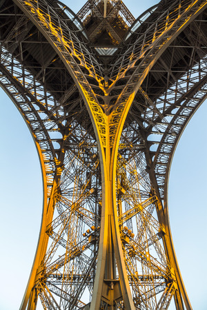 Nice architecture of Eiffel tower in Paris in evening Stock Photo