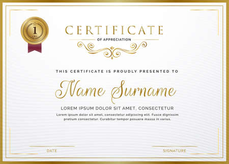 Certificate template with golden frame border and gold badge for Diploma, deed, certificate of appreciation, achievement, attendance, award plaque design, gift certificate.