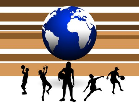 globe and soccer players on striped background   photo