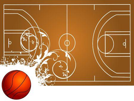 basketball court with ball