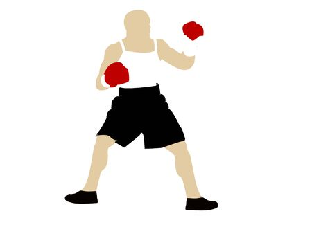 boxing male on isolated background     photo