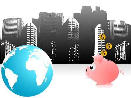 piggy bank and earth on buildings   photo