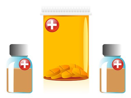 medicine containers on isolated background     photo