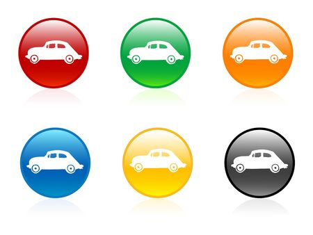 isolatd: cars in buttons on isolatd background