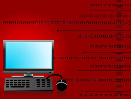 computer set on dark background with binary code photo