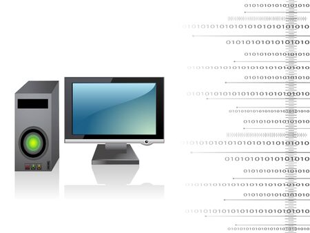 CPU with monitor on simple background photo