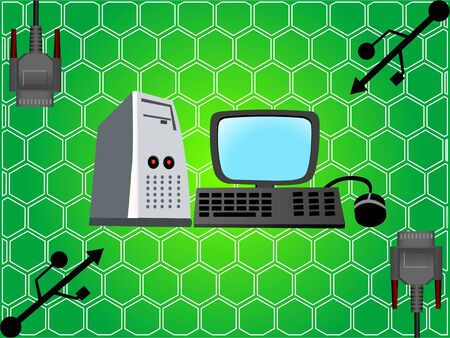 computer set with connectors on hexagonal background photo