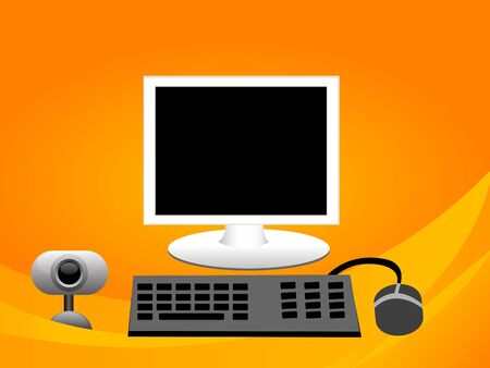 computer set with webcam on curvy gradient background photo