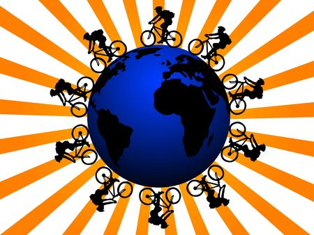 cyclist worldwide on sunburst background   photo