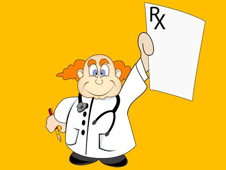 doctor with prescription on abstract background